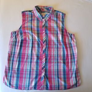 Talbots woman button front plaid top